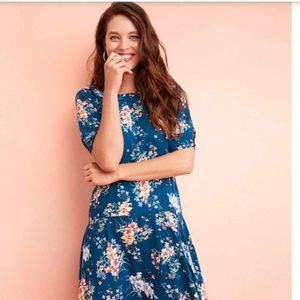 Loft Floral Puff Sleeve Midi Dress